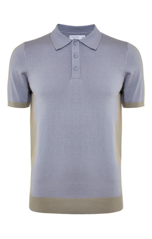 Grey Premium Panel Block Polo Neck T-Shirt