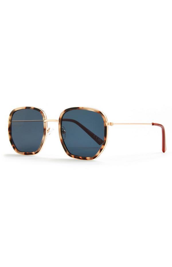 Faux Tortoiseshell Metal Arm Hexagonal Sunglasses