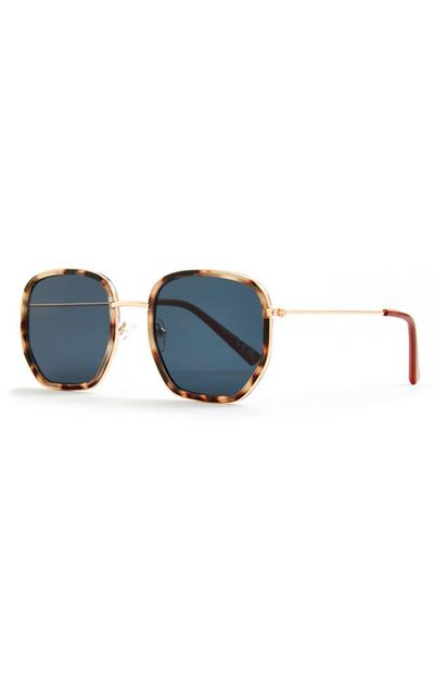 Faux Tortoiseshell Metal Arm Hexagonal Sunglasses