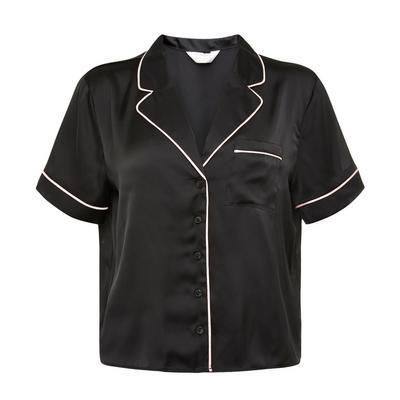 Black Satin Solid Shirt