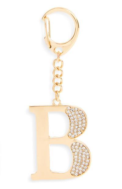 """Goldfarbener Schlüsselanhänger mit Initiale """"B"""" und Strasssteinen"""