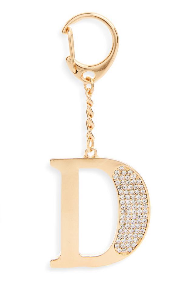 """Goldfarbener Schlüsselanhänger mit Initiale """"D"""" und Strasssteinen"""