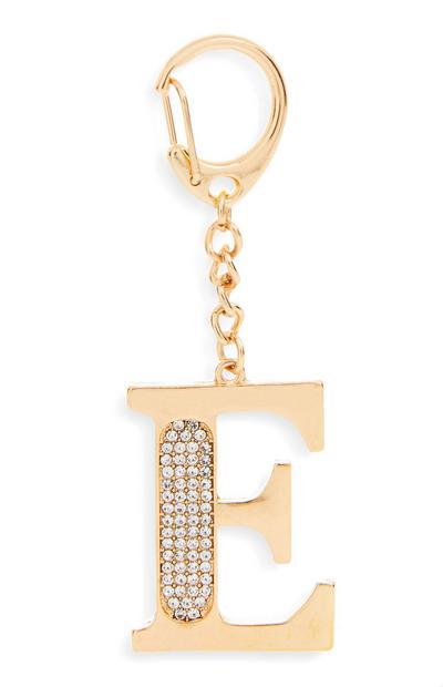 Porte-clés doré avec initiale E à strass