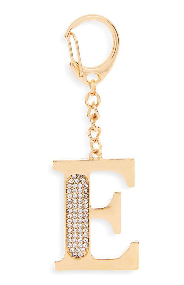 Goldtone Rhinestone Metal E Initial Clip Keyring