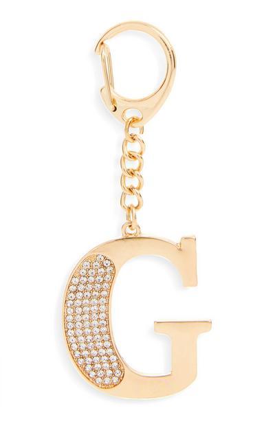 """Goldfarbener Schlüsselanhänger mit Initiale """"G"""" und Strasssteinen"""