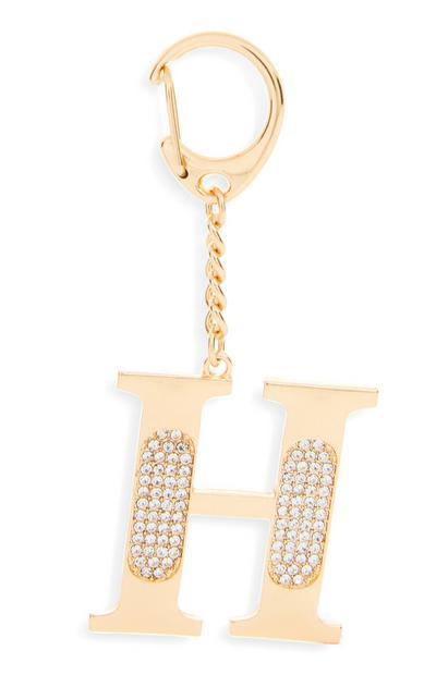"""Goldfarbener Schlüsselanhänger mit Initiale """"H"""" und Strasssteinen"""