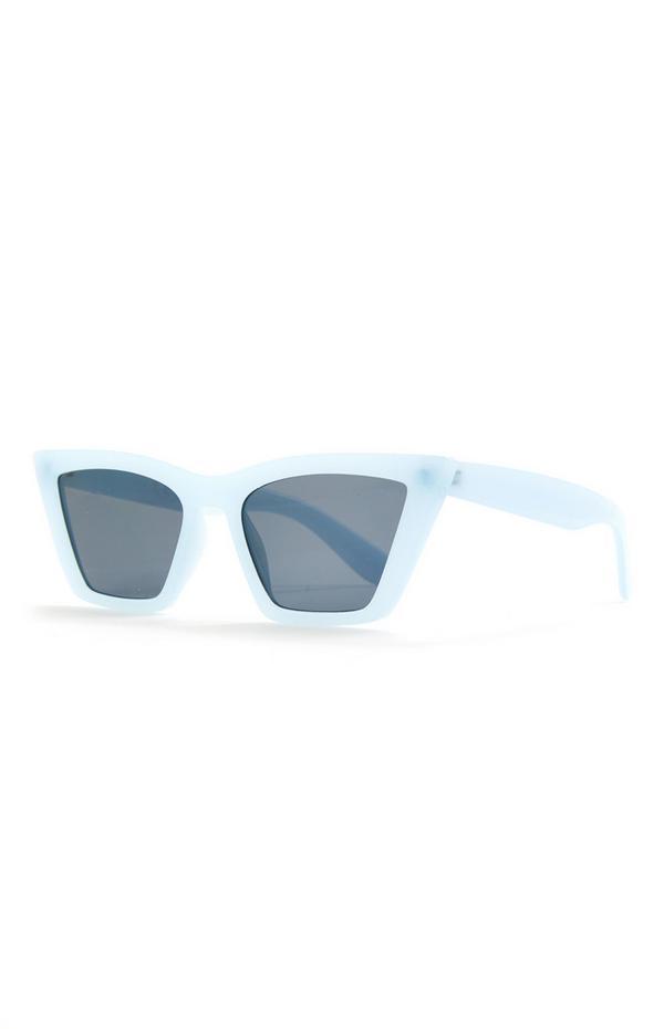Breite blaue Cateye-Sonnenbrille