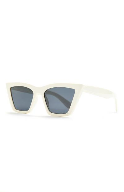 White Stretched Cateye Sunglasses