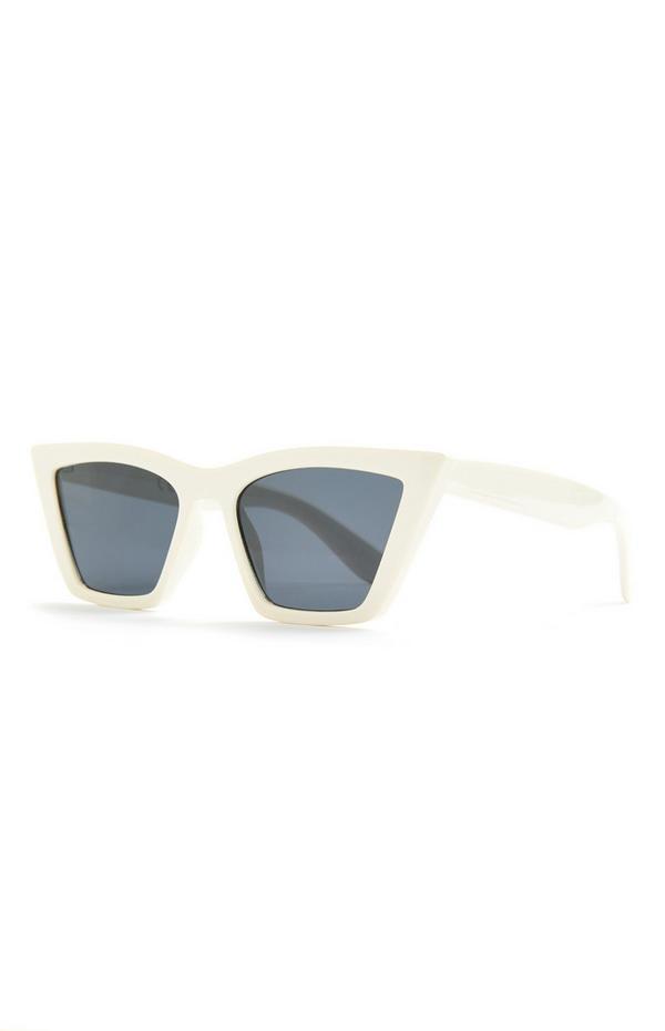 Brede witte cat-eye zonnebril