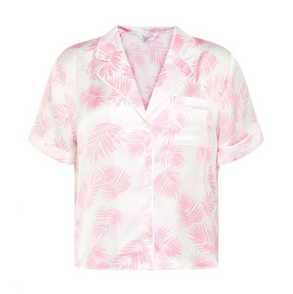 Pink Leaf Print Satin Shirt