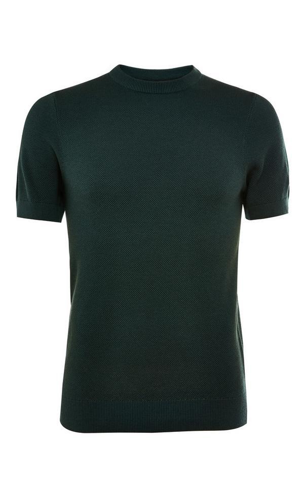 Premium bosgroen T-shirt met ronde hals en korte mouwen