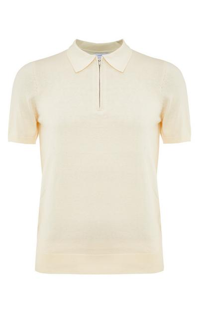 Cremefarbenes, kurzärmeliges Premium-Poloshirt mit Reißverschluss