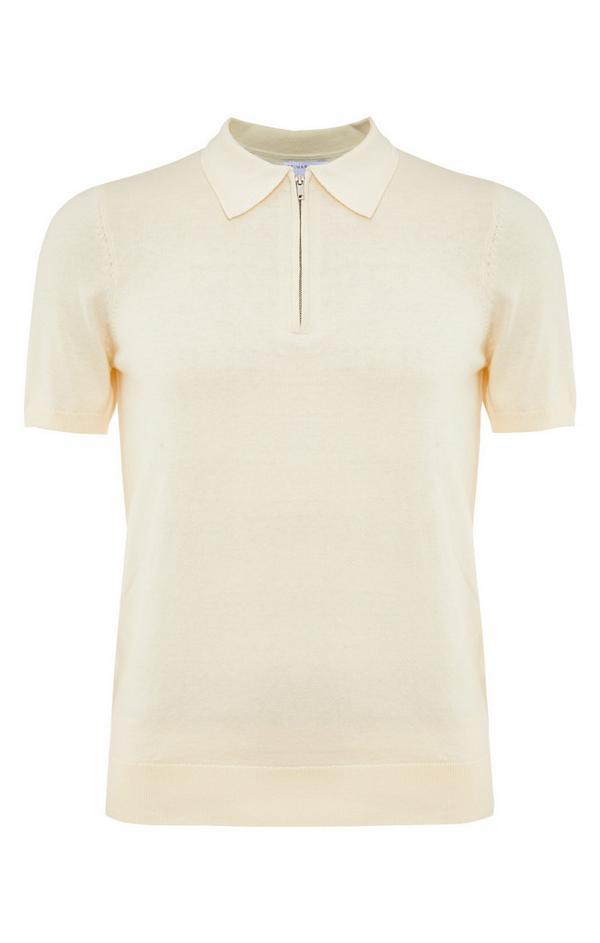 Cream Premium Short Sleeve Zip Polo Neck T-Shirt