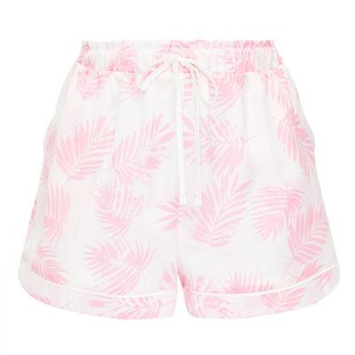 Pink Leaf Print Satin Shorts