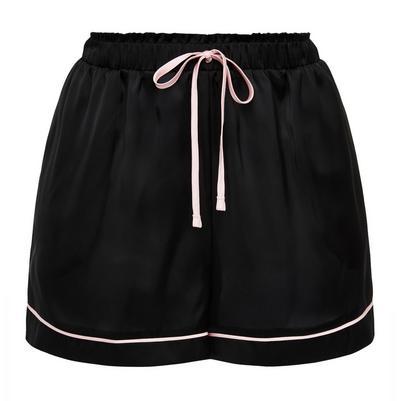 Black Satin Pink Trim Shorts