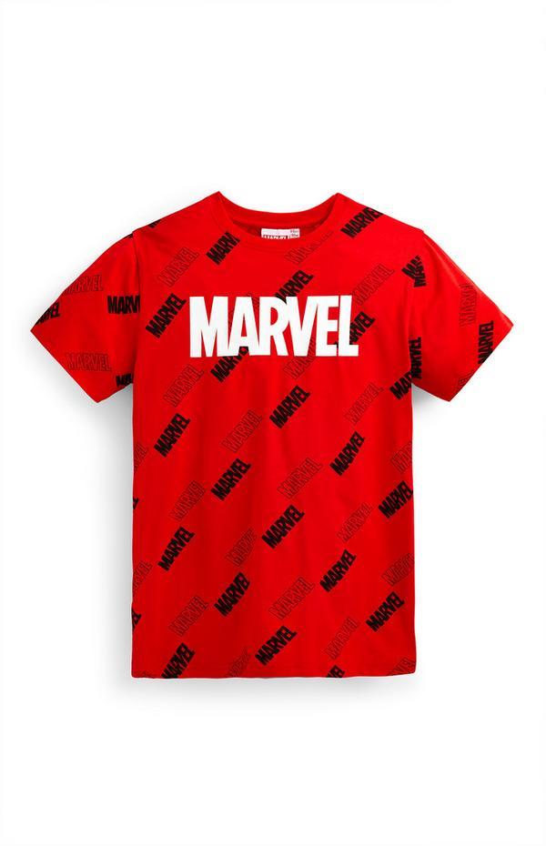 Older Boy Red Marvel Print T-Shirt
