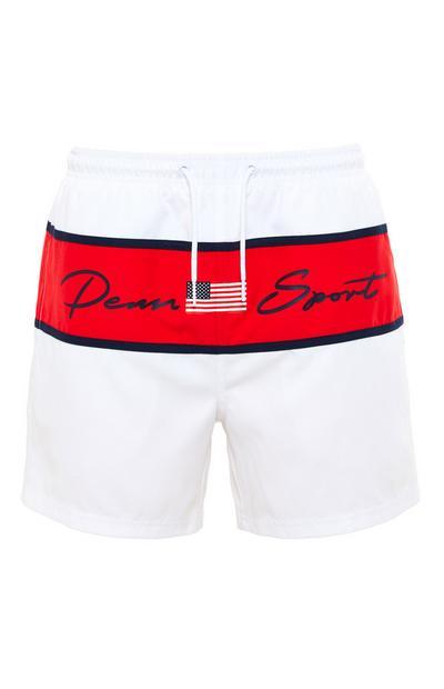 Penn Sport White Colour Block Tie Waist Shorts