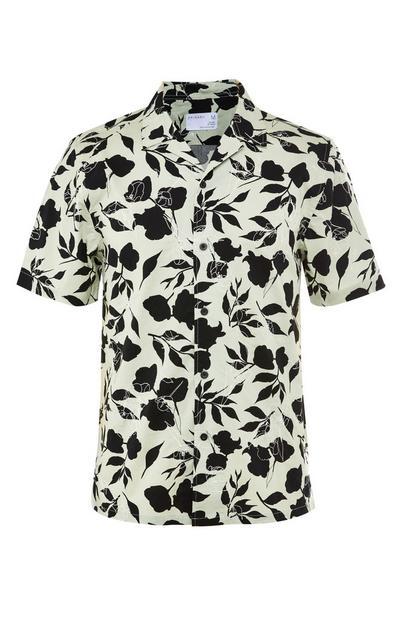 Črno-bela premium srajca s kratkimi rokavi in cvetličnim potiskom