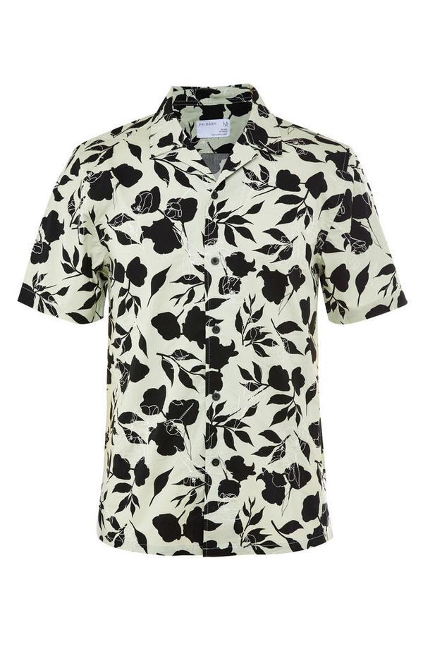 Premium Black/White Floral Print Short Sleeve Shirt