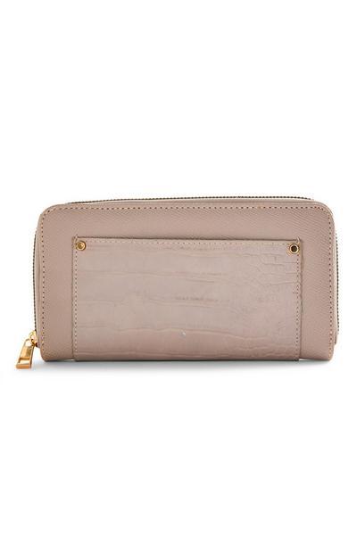 Taupe Faux Animal Skin Large Zip Around Wallet