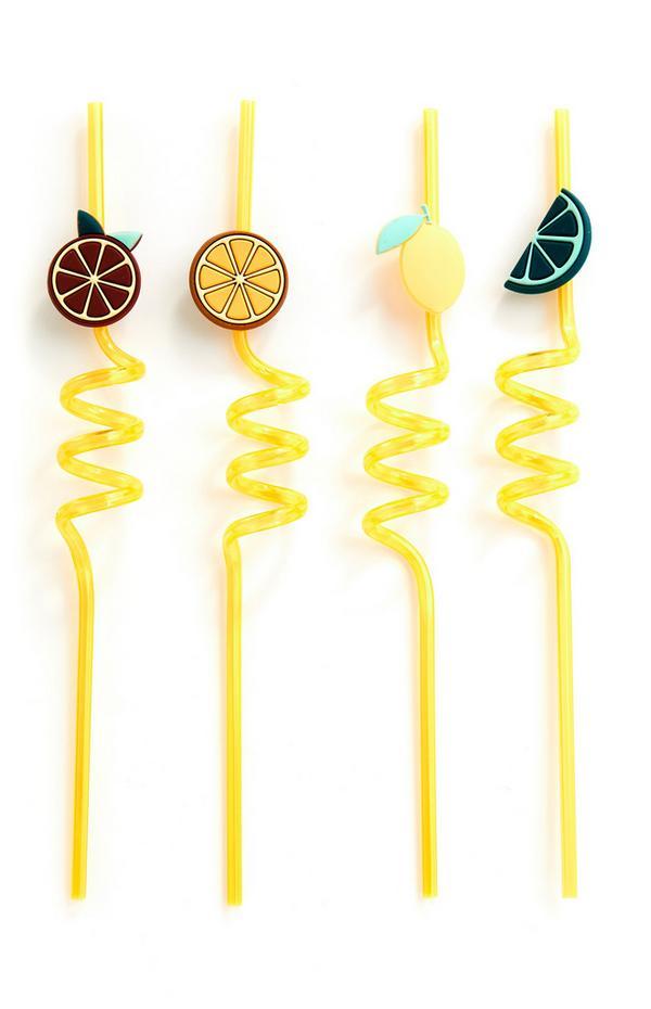 Pailles jaunes à fruits 3D fantaisie