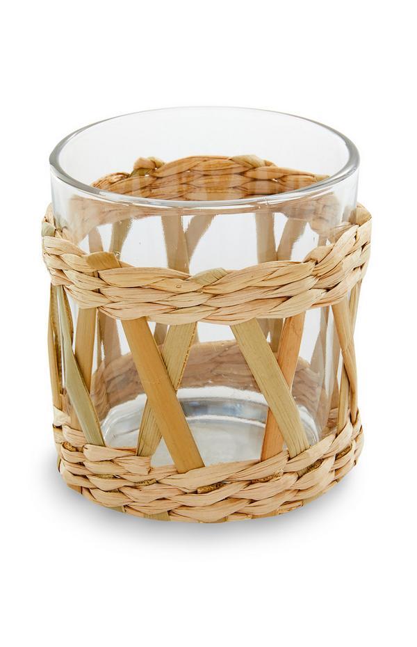 Glas mit Rattanhülle, 2er-Pack