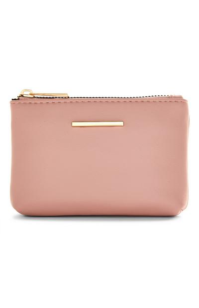Blush Pink And Goldtone Zip Smooth Coinpurse