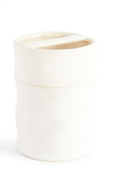 White Spa Bathroom Cotton Wool Holder