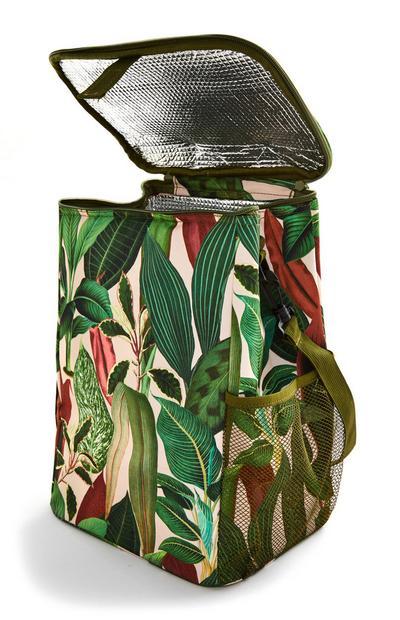 Tropical Leaf Print Large Cooler Bag