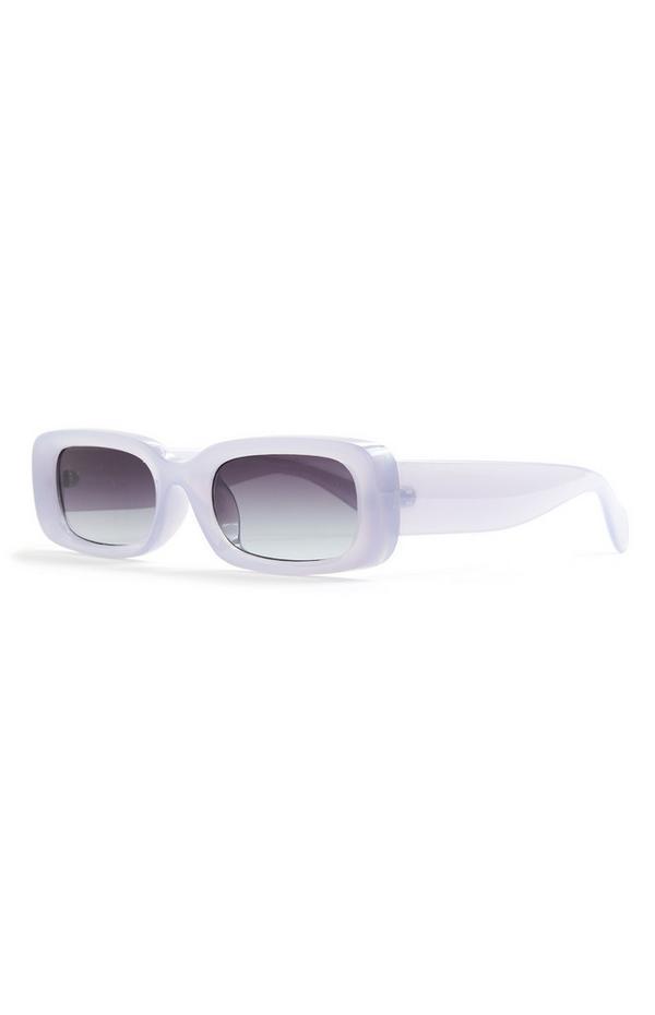 Große rechteckige Sonnenbrille in Blau