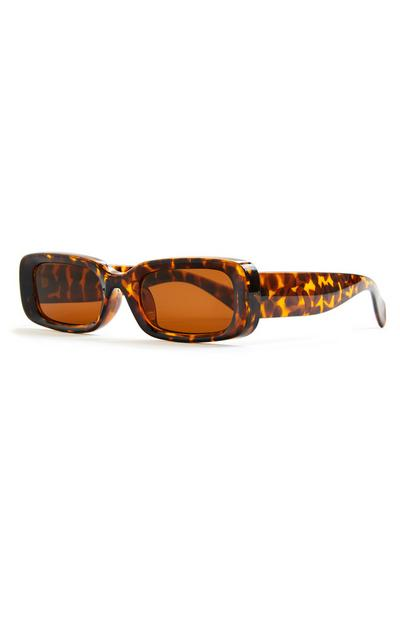 Faux Tortoiseshell Chunky Arm Rectangle Sunglasses