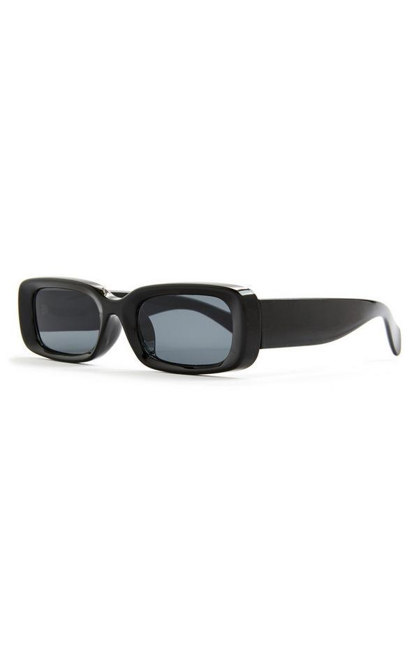 Große rechteckige Sonnenbrille in Schwarz