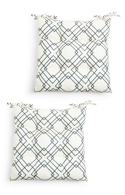 Blue Patterned Cushion Seat Pads 2 Pack