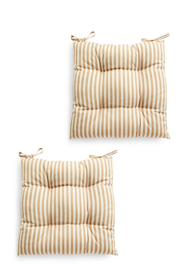 2 cuscini color cammello a righe da seduta