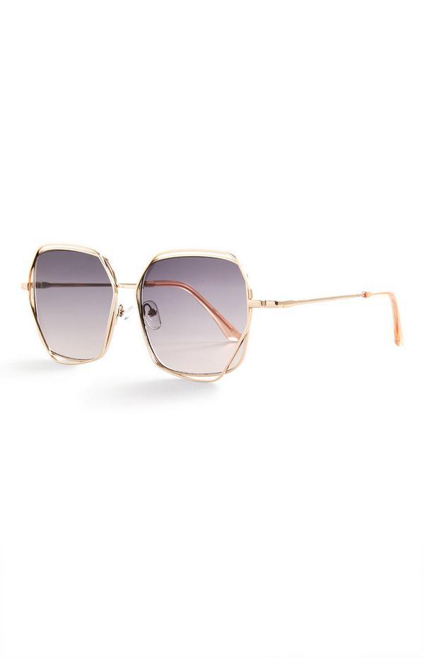 Velika zlata kovinska oglata sončna očala
