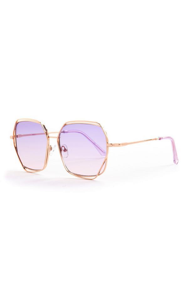 Lilafarbene Oversized-Sonnenbrille mit Metallelementen