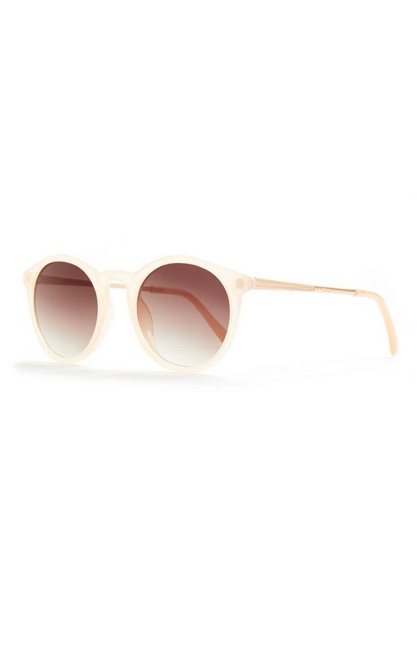 Lichtgele preppy zonnebril met goudkleurige ronde glazen