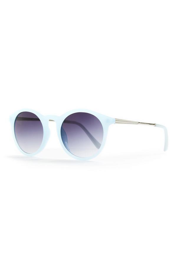 Lunettes de soleil rondes bleues Preppy