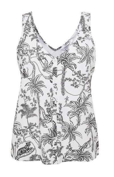 Monochrome Jungle Print Vest