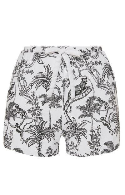 Monochrome Shorts mit Dschungel-Print
