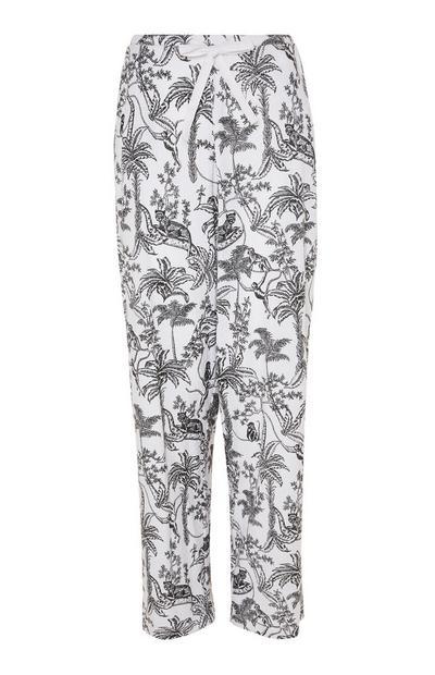 Black/White Jungle Print Pajama Leggings