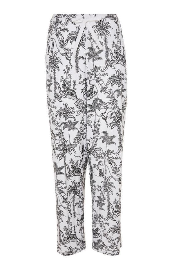 Legging de pyjama monochrome à imprimé jungle