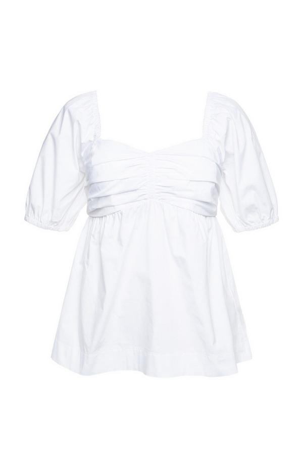Top peplum decote coração tecido enrugado popelina branco