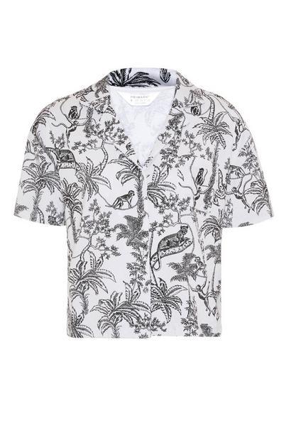 Monochromes Pyjamahemd mit Dschungel-Print