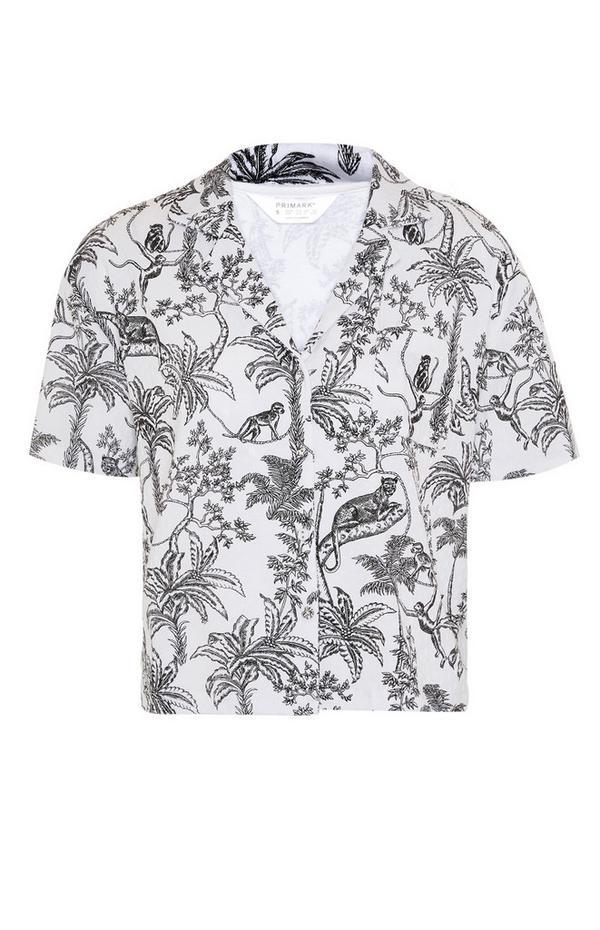 Haut de pyjama monochrome à imprimé jungle