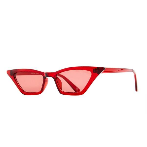 Red Slim Cateye Sunglasses
