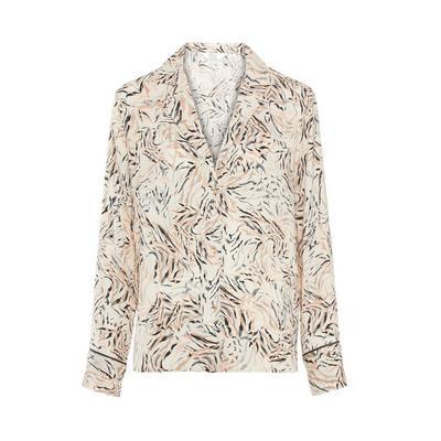 Beige Leaf Print Satin Pajama Shirt