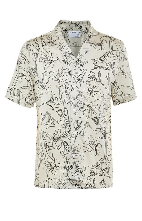 Premium Monochrome Floral Print Short Sleeve Shirt