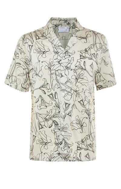 Camisa premium de manga corta blanca y negra con estampado floral