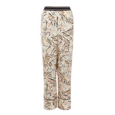 Beige Leaf Print Satin Pajama Leggings